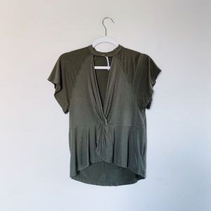 Free People Army Green Twist Blouse Sz XS